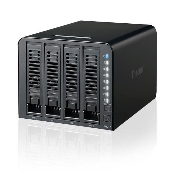 Thecus 4-Bay tower NAS, SATA, 1GHz, 1GB DDR3, 1x GbE, USB 3.0