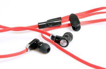 Media-Tech MAGICSOUND DS-2 sluchátka do uší s mikrofonem pro smartphony, červená