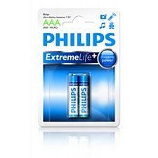 Philips baterie AAA ExtremeLife+, alkalická - 2ks