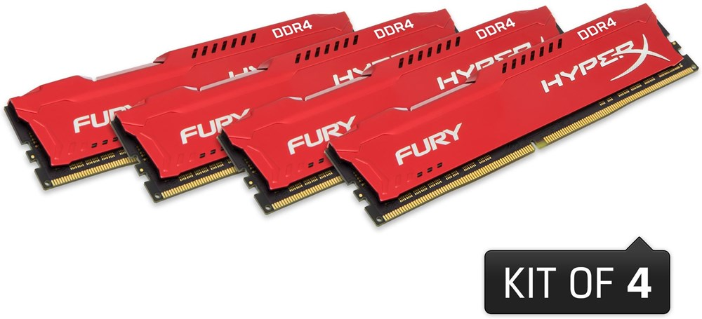 Kingston DDR4 32GB (Kit 4x8GB) HyperX FURY DIMM 2666MHz CL16 SR x8 červená