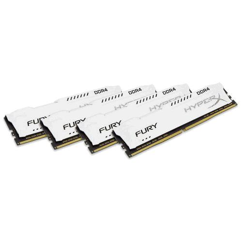 Kingston DDR4 32GB (Kit 4x8GB) HyperX FURY DIMM 2400MHz CL15 SR x8 bílá