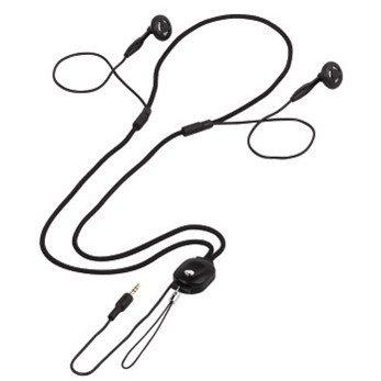 Hama sluchátka HK-273, špunty, černá, šňůrka na krk, jack 2,5 mm
