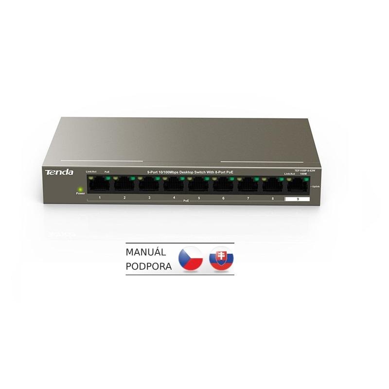 Tenda TEF1109P-8-63W PoE AT switch (8x PoE 802.3af/at, 9x 100Mb/s, PoE celkem 63W, fanless