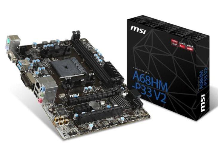 MSI MB Sc FM2+, A68HM-P33 V2, AMD A68X, 2xDDR3, VGA+DVI, GbLAN, mATX