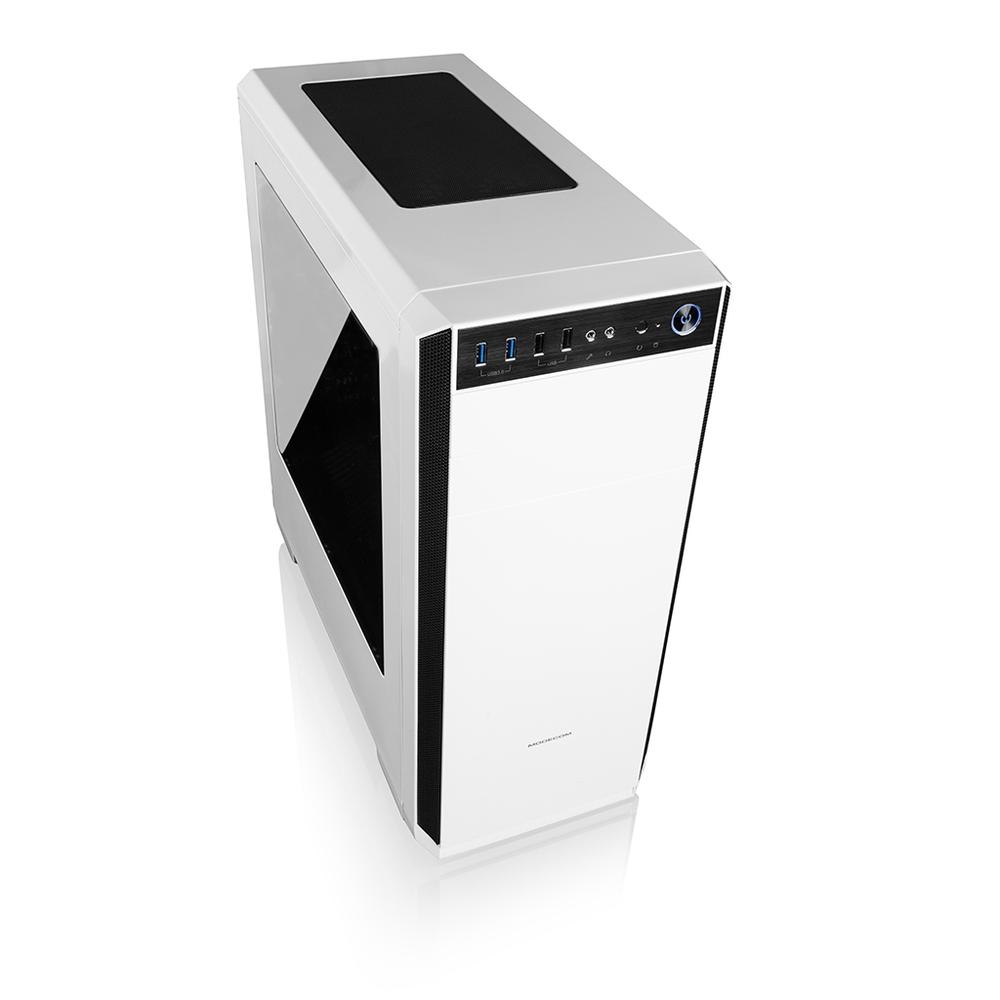Modecom PC herní skříň OBERON 2F WHITE MIDI, 2x USB 3.0, 2x USB 2.0, audio HD, bílá, bez zdroje