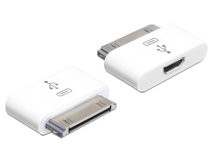 Delock nabíjecí a datový adaptér pro IPhone/IPod 30 pin, samec > USB micro-B, samice