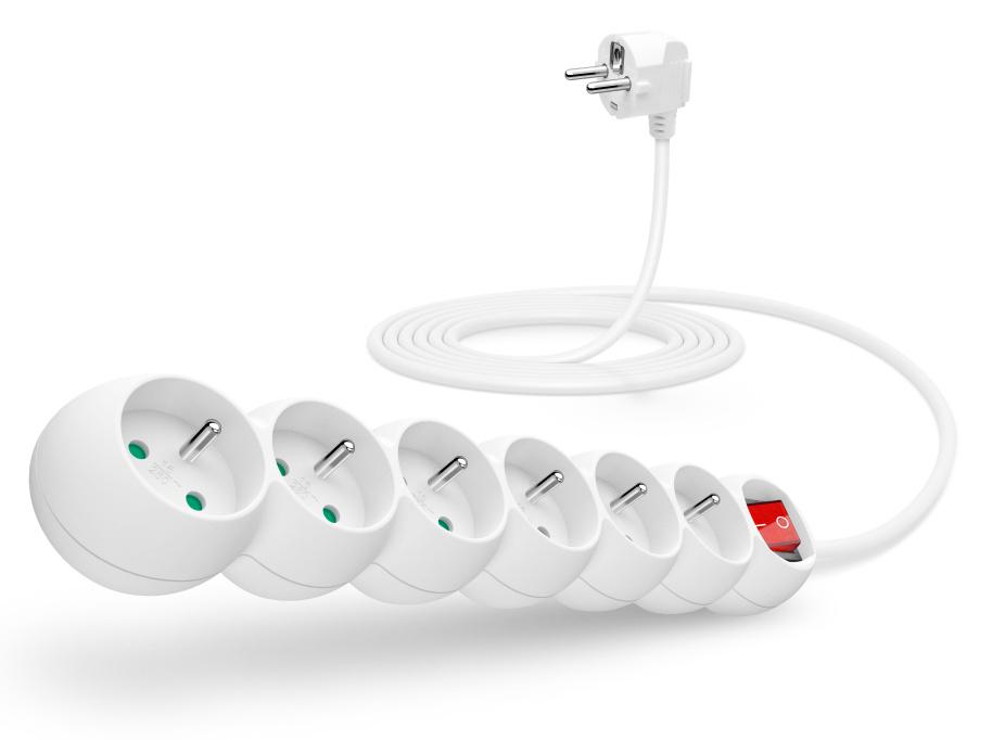 CONNECT IT prodlužovací kabel 230 V, 6 zásuvek, 3 m, s vypínačem (bílý)