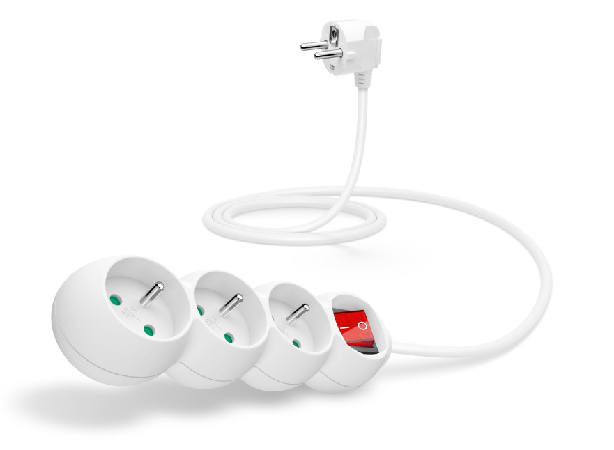 CONNECT IT prodlužovací kabel 230 V, 3 zásuvky, 1,5 m, s vypínačem (bílý)