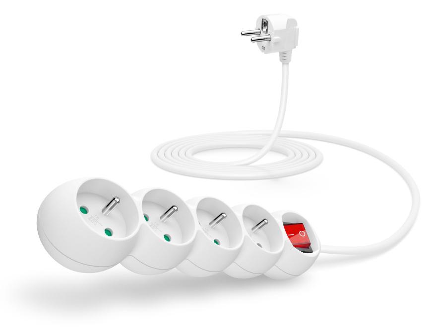 CONNECT IT prodlužovací kabel 230 V, 4 zásuvky, 3 m, s vypínačem (bílý)