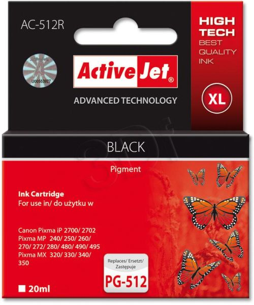 Ink ActiveJet AC-512R | black | 18 ml | Canon PG-512