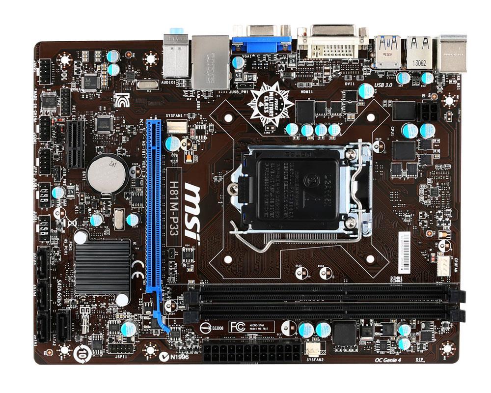 MSI H81M-P33, H81, DualDDR3-1600, SATA3, DVI, mATX