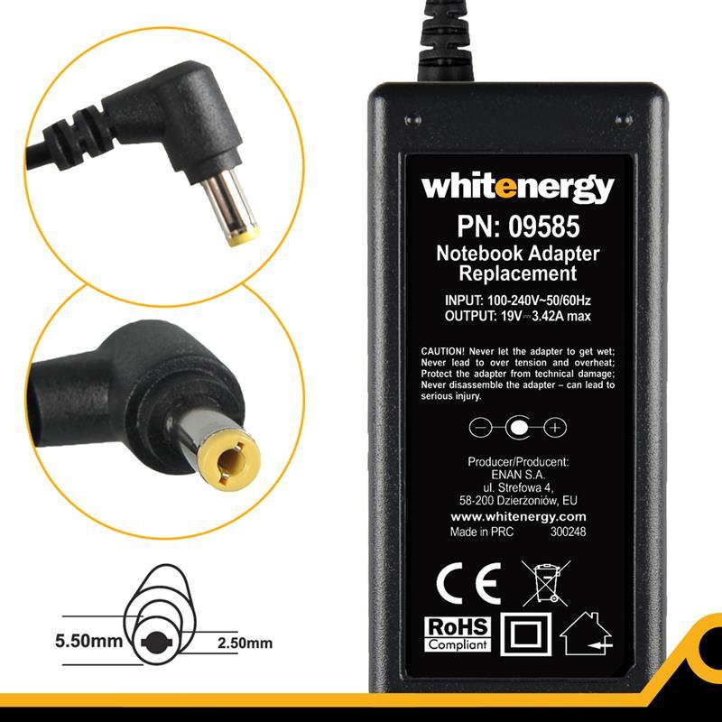Whitenergy napájecí zdroj 19V/3.42A 65W konektor 5.5x2.5mm Blistr