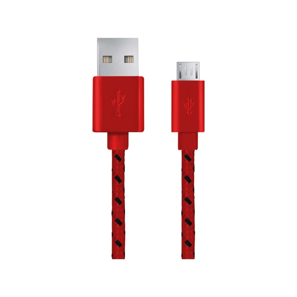 Esperanza EB175RB Kabel Micro USB 2.0 A-B M/M, opetený, 1.0m, červený