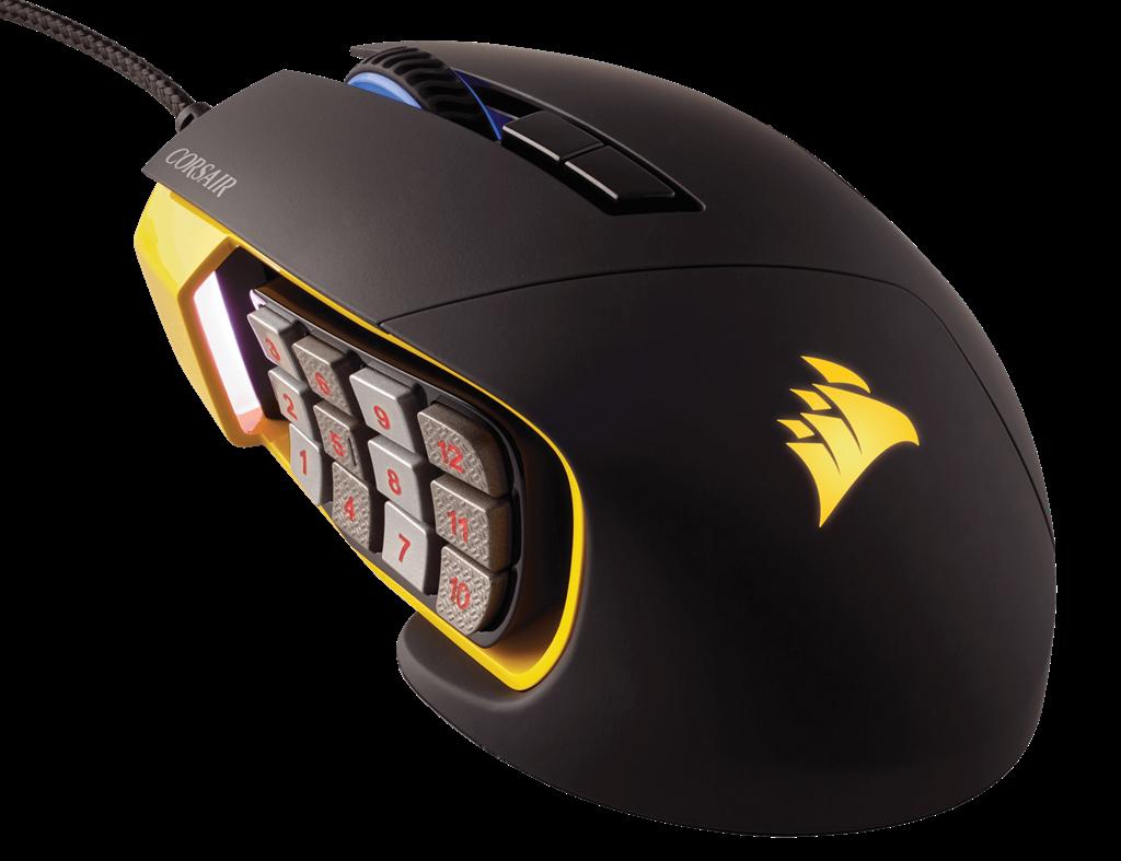 Corsair optická herní myš Scimitar PRO RGB, MMO, 16000 dpi, 17 tlačítek, žlutá