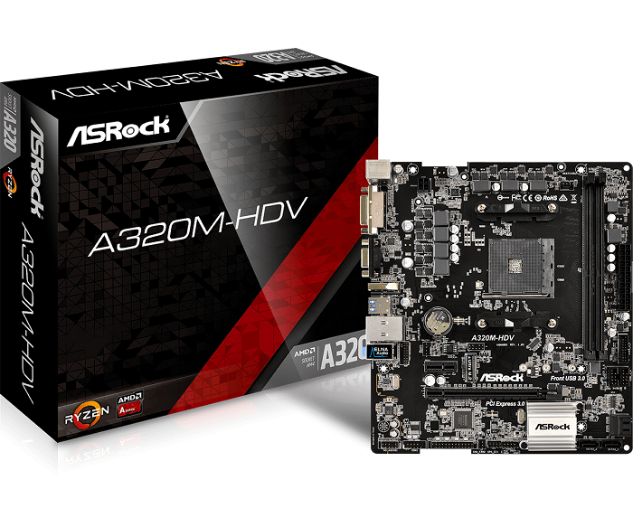 ASRock A320M-HDV, AM4, 4xSATA3, DDR4, USB 3.0