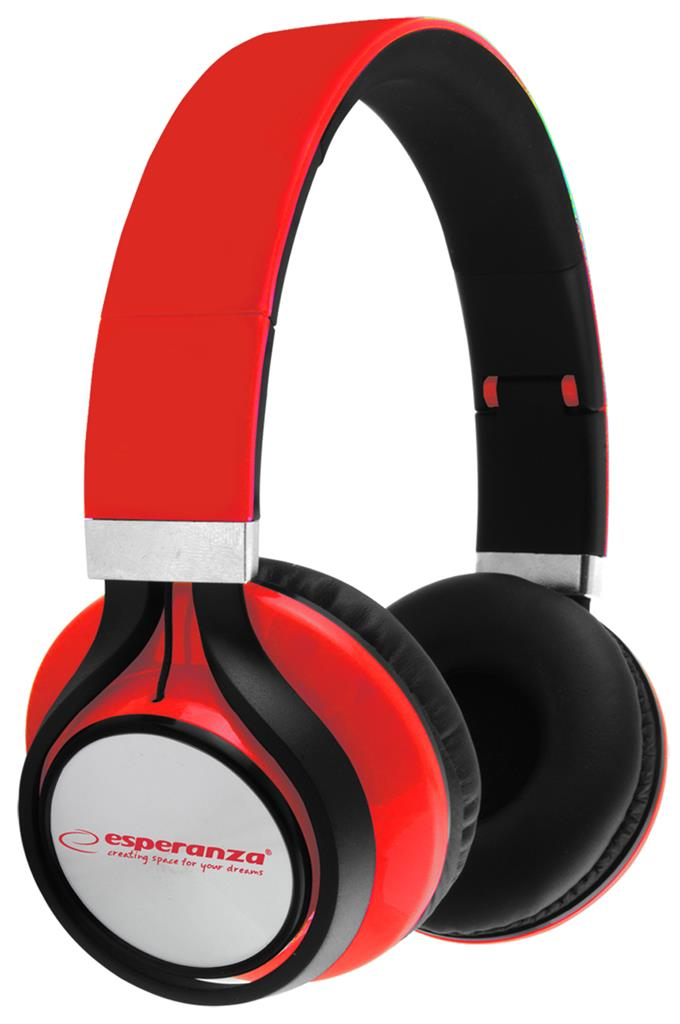 Esperanza EH159R FREESTYLE Stereo sluchátka, skládací, ovl. hlasitosti, 2m, červ
