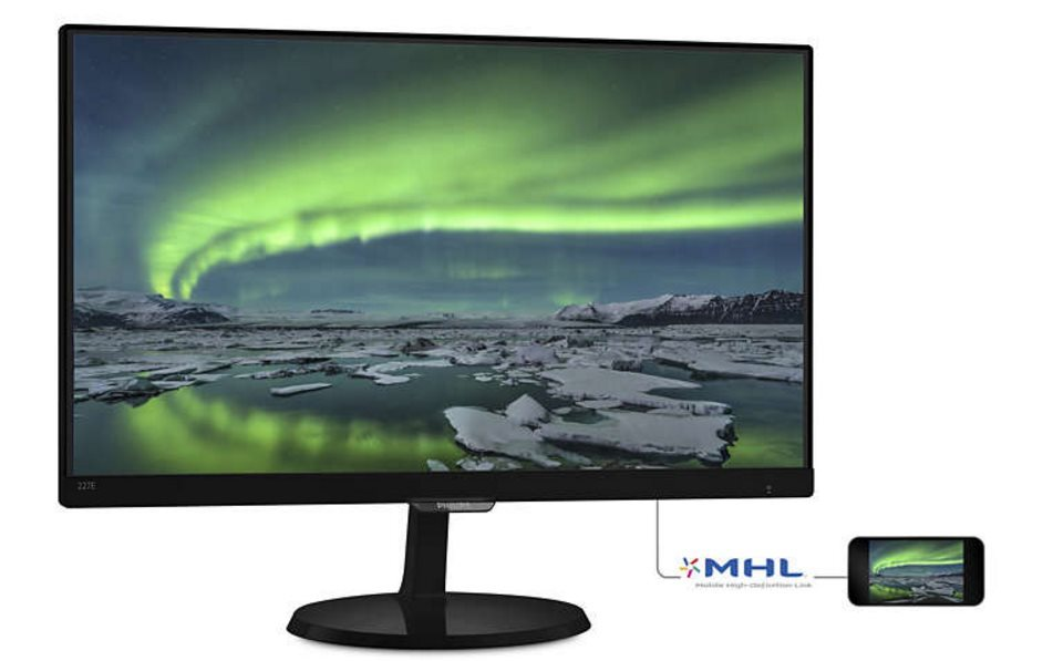"Philips LCD 227E7QDSB 21,5""wide IPS LED/1920x1080/20mil:1/5ms/VGA/DVI/HDMI/MHL"