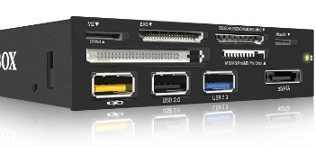 IcyBox 3.5'' Card Reader With Multiport Panel, 60 Card Types, USB 3.0, eSATA