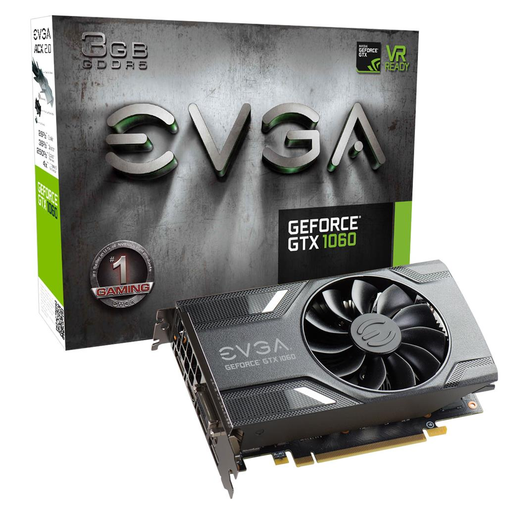 EVGA GeForce GTX 1060 GAMING, 3GB GDDR5 (192 Bit), HDMI, DVI, 3xDP