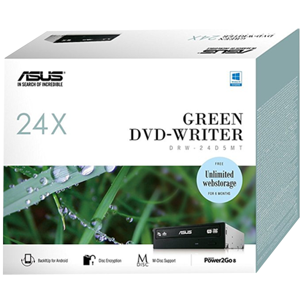 ASUS DVD+/-RW Asus E-Green 24D5MT, 24x, SATA, černá