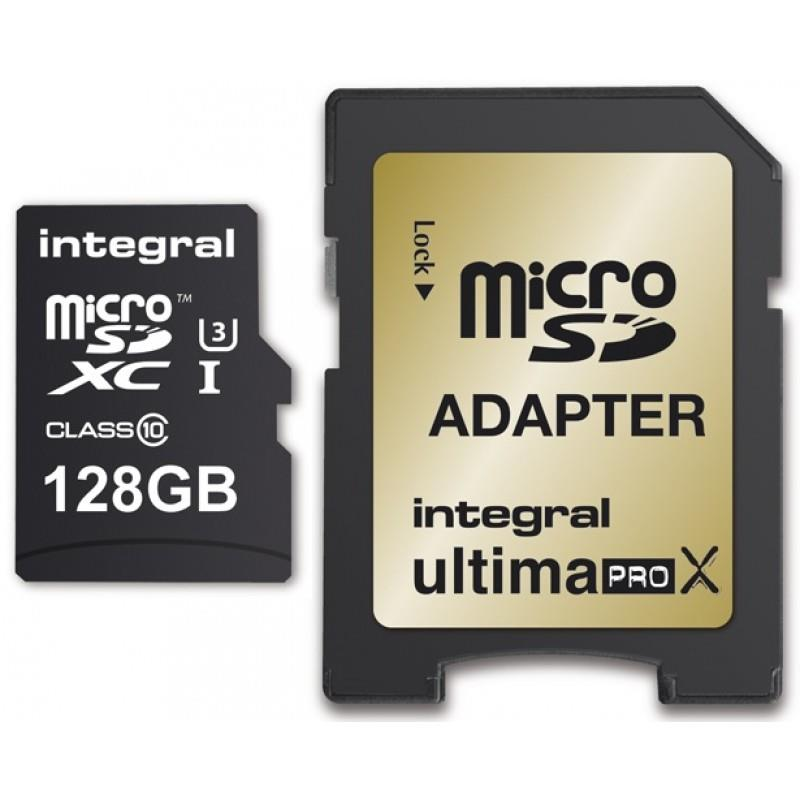 Integral 128GB micro SDHC SDXC Cards C10 - Ultima Pro X- UHS-1 U3 90/90 MB/s