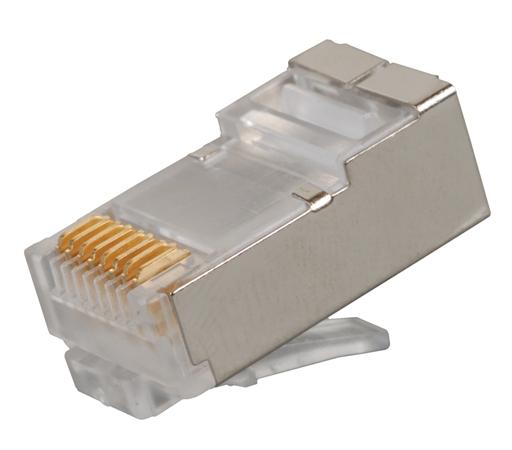 Solarix Modulární konektor 8p8c CAT6 skládaný, stíněný, pro drát (100ks)
