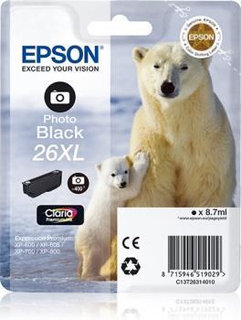 Inkoust Epson T2631 XL photo black Claria | 8,7 ml | XP-600/700/800