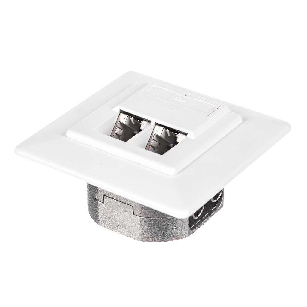 Netrack zásuvka kompletní pod omítku 2xRJ45 8p8c STP Cat5e