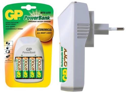 GP PowerBank Nite-Lite nabíječka (PB11GS) + 4x AA 2700 mAh, 14hod.