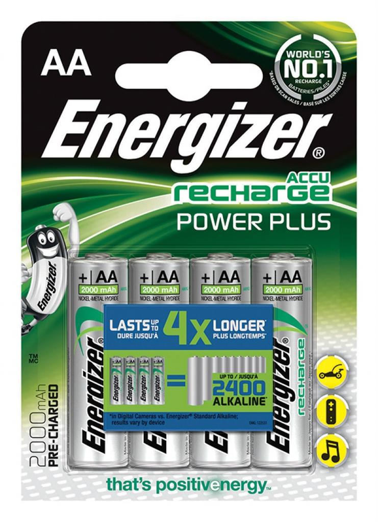 Rechargeable battery ENERGIZER Power Plus, AA, HR6, 1.2V, 2000mAh, 4 pcs