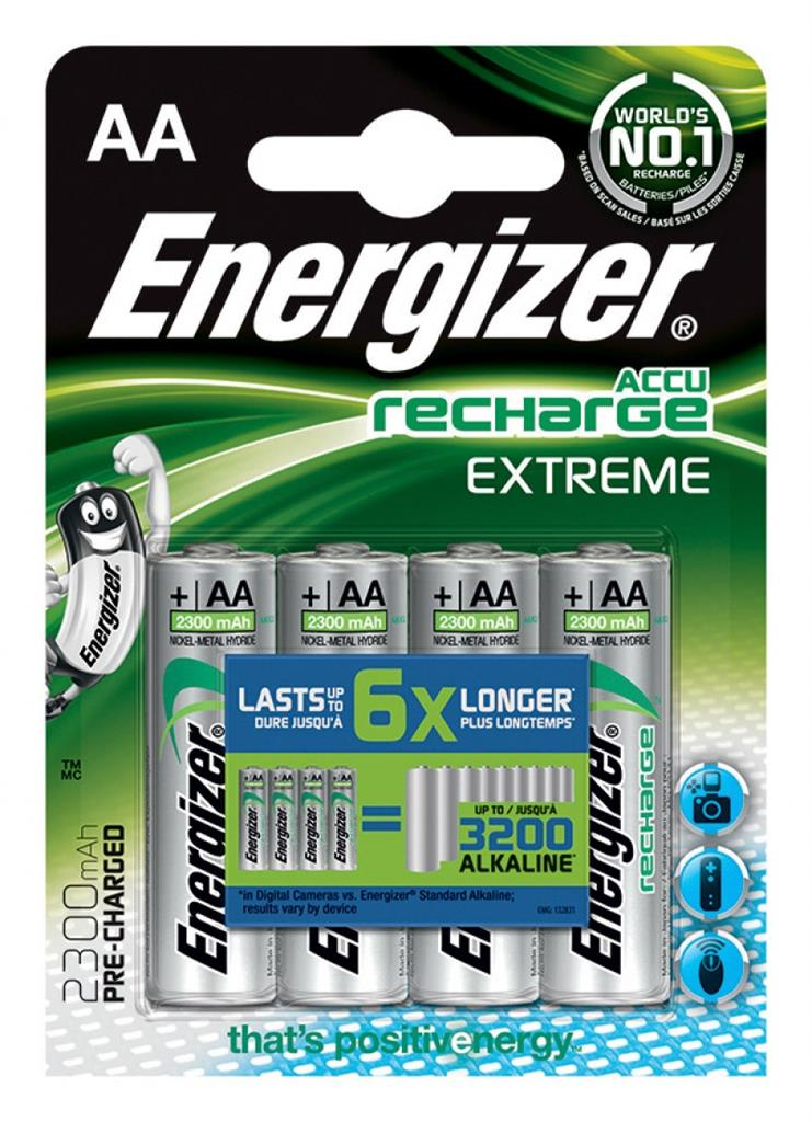 Rechargeable battery, ENERGIZER Extreme, AA, HR6, 1, 2V, 2300mAh, 4 pcs