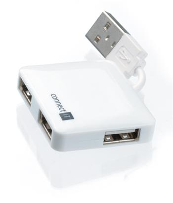 CONNECT IT USB 2.0 hub 4 porty, bílý