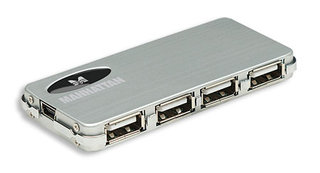 Manhattan mikro USB 2.0 Hub, 4 porty, napájecí adaptér, stříbrný
