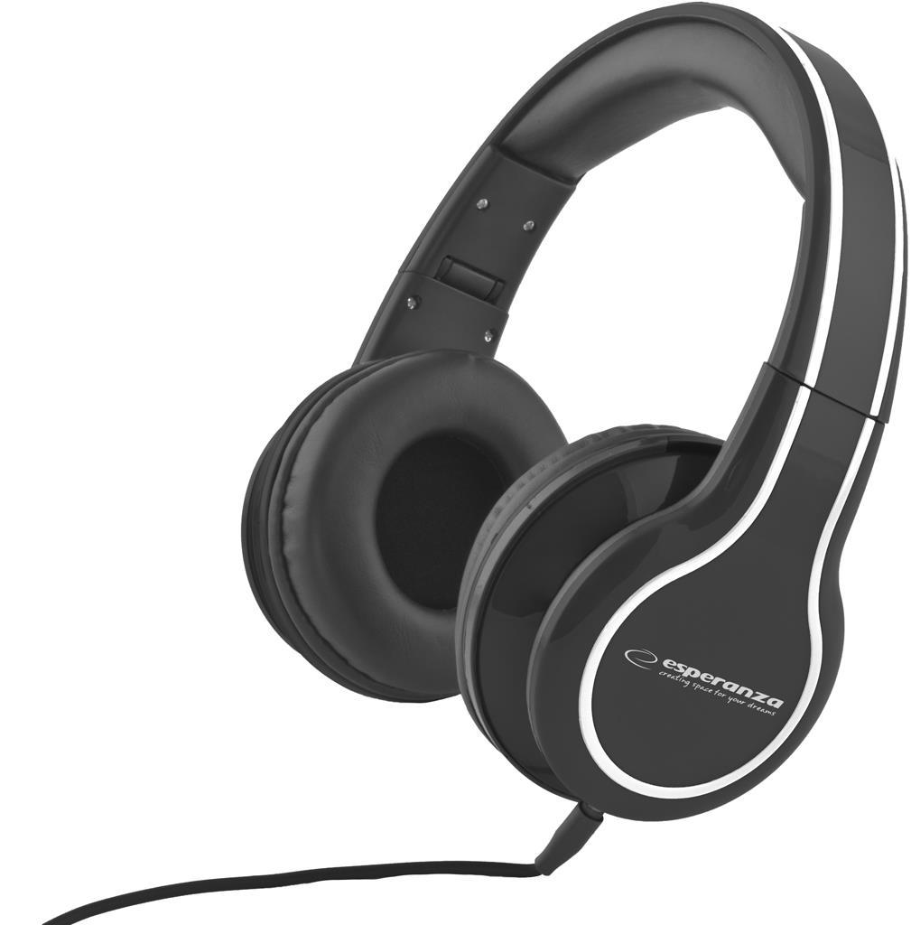 Esperanza EH136K BLUES Stereo sluchátka, skládací, ovl. hlasitosti, 3m, černá
