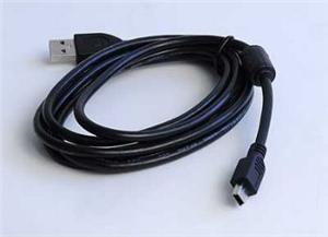 GEMBIRD Kabel USB 2.0 A-Mini B (5pin) propojovací, HQ s ferritovým jádrem, 1,8m, černý