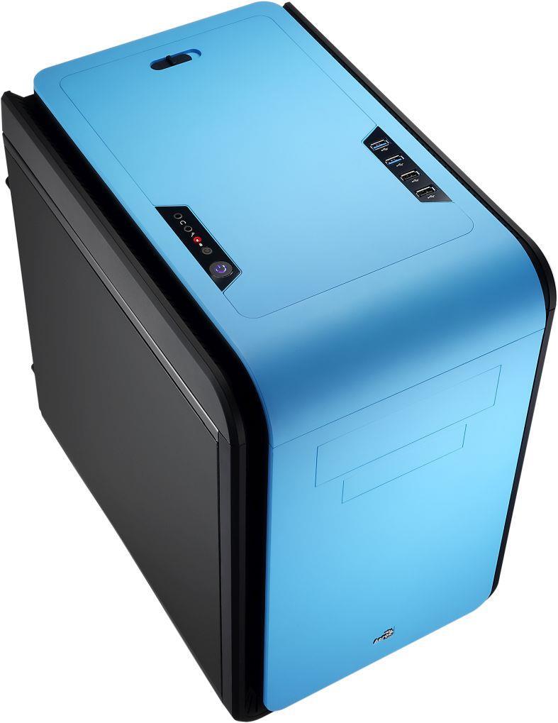 PC skříň Aerocool Micro ATX DS CUBE BLUE, USB 3.0, bez zdroje