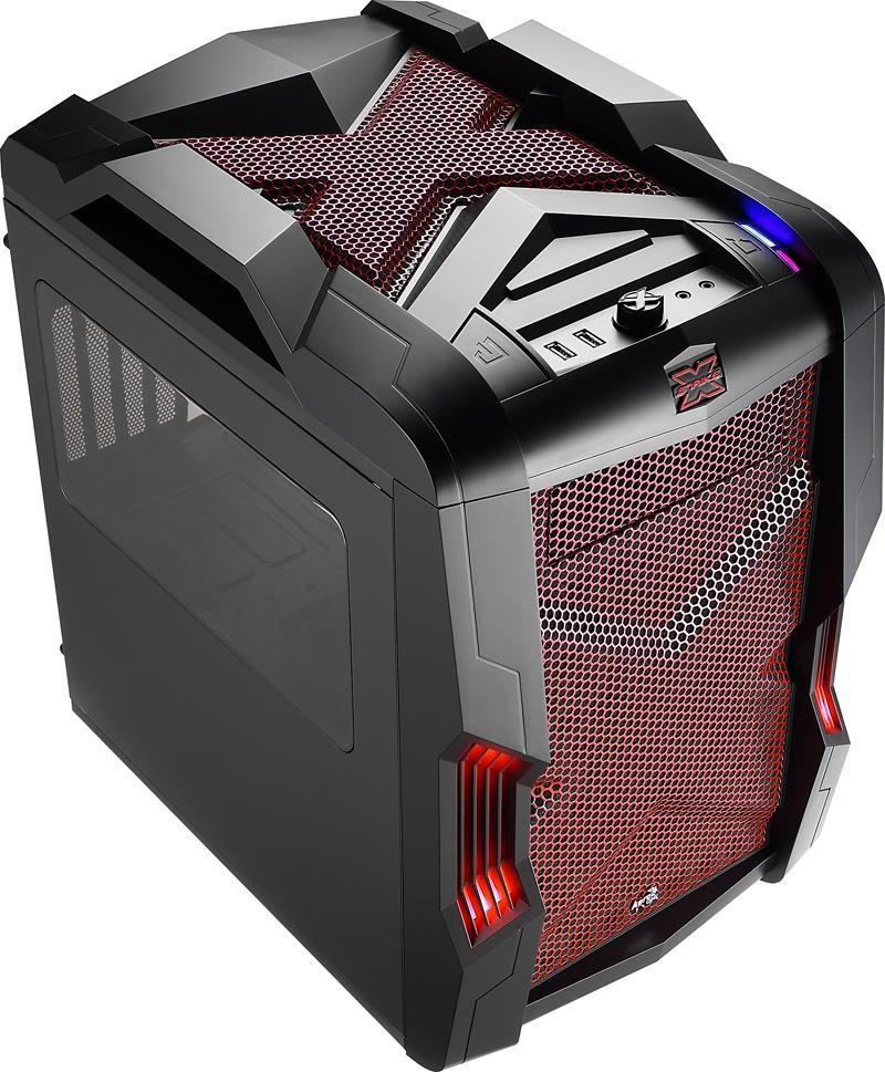 PC skříň Aerocool Micro-ATX STRIKE-X CUBE RED, USB 3.0, bez zdroje