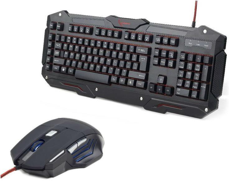 Gembird GamingPack: herní klávesnice USB + optická herní myš 3600 DPI, USB