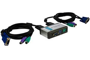 D-Link 2-Port KVM Switch, Built-in cables
