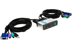 D-Link 2-Port KVM+USB Switch, Built-in cables