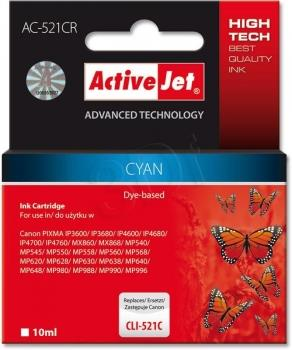 Ink ActiveJet AC-521CR | Cyan | 10 ml | Canon CLI-521C