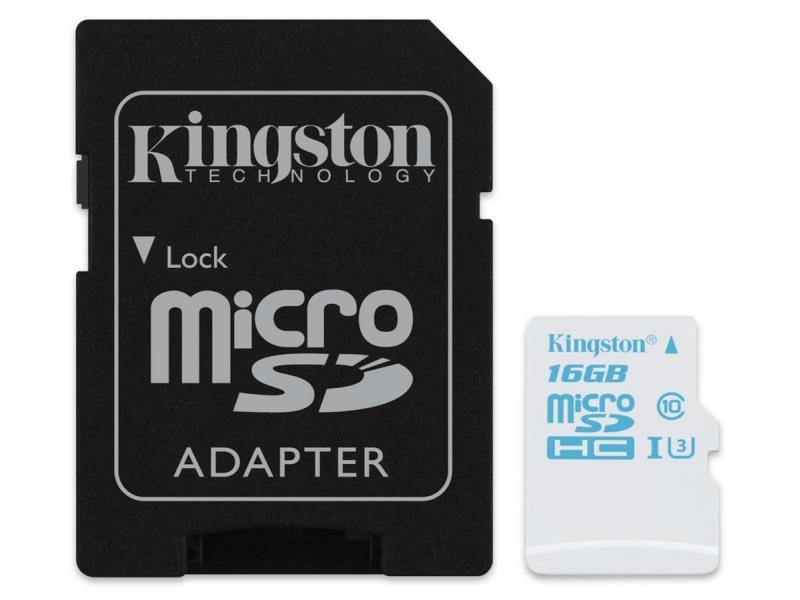 Kingston micro SDHC 16GB UHS-I U3 Action Card, 90R/45W + SD