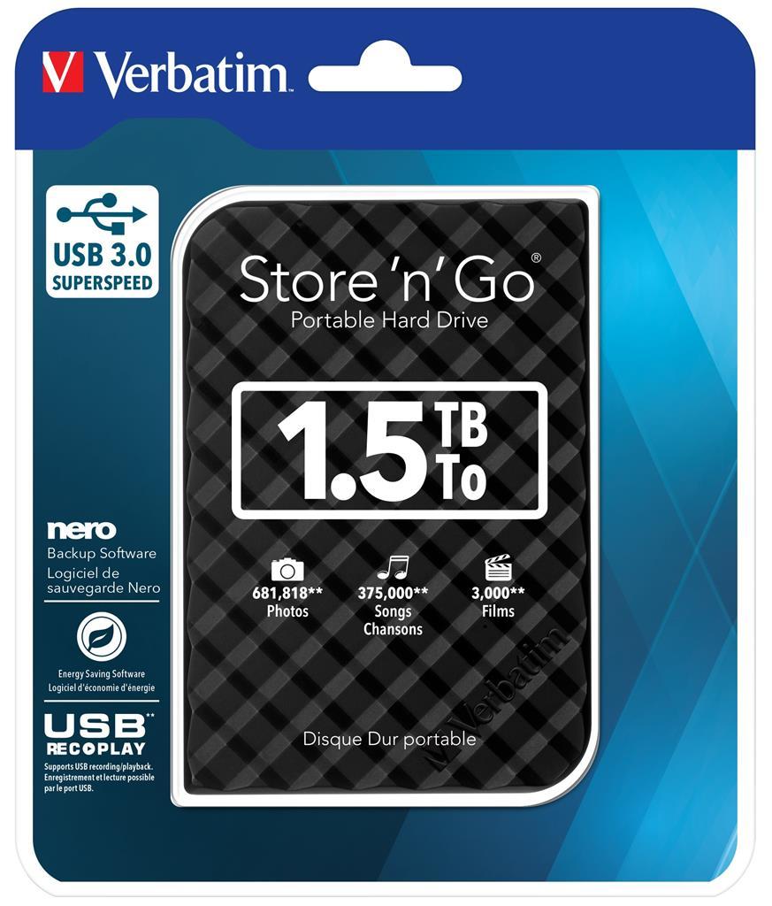 Verbatim Store 'n' Go 1,5TB, GEN 2, externí HDD 2.5'' USB 3.0, černý