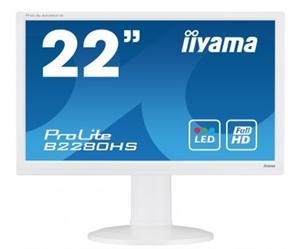 """22""""LCD iiyama B2280HS-W1 - 5ms, 250cd/m2, FullHD, matný, VGA, HDMI, DVI,repro,pivot,výšk.nast.,bílý"""