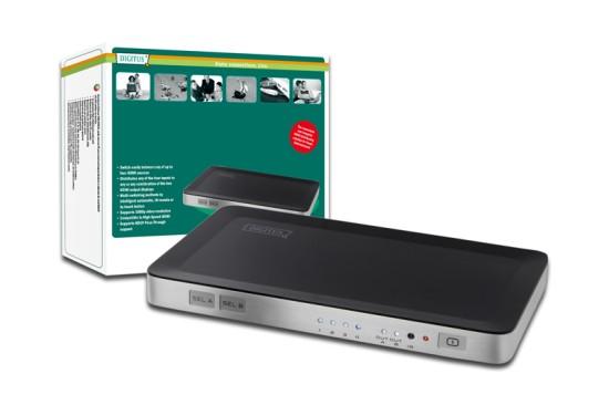 Digitus HDMI elektronický přepínač 4 vstupy => 2 výstupy
