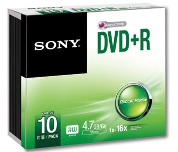SONY DVD-R 4,7 GB, 16x, tenky obal, 10 ks