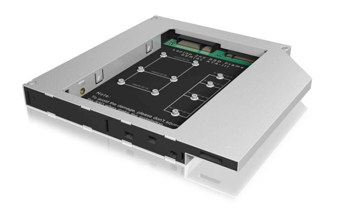 IcyBox Adapter for mSATA or M.2 SSD in 12.5mm notebook DVD bay
