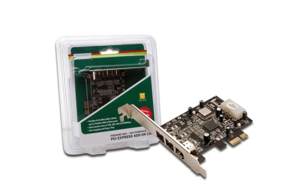 DIGITUS IEEE 1394b Interface Card, PCIexpress,, 3 Port, 2x9-Pin Extern+1x9-Pin Intern XIO2213B chipset