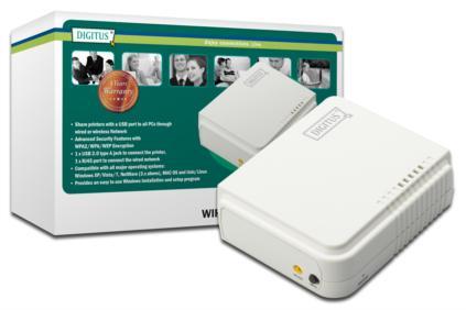 Digitus Bezdrátový USB Print Server, 1-Port, 1x RJ45, 1x USB A, USB 2.0 Pro všechny běžné OS