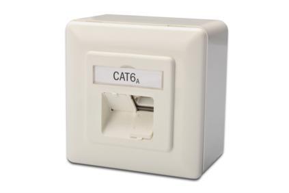 Digitus modulární dvojzásuvka CAT6A,Class EA, stíněná, na omítku, bílá, LSA
